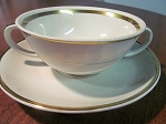Chodziez Double Bouillon Cup & Saucer - Made In Poland