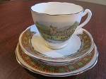 Cowen China Teacup/Saucer/Biscuit Plate - Clan Cameron - Balmoral Castle - Glasgow Scotland