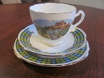Cowen China Teacup/Saucer/Biscuit Plate - Clan Campbell - Edinburgh Castle - Glasgow Scotland