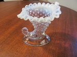 Fenton Art Glass Hobnail Opalescent Cornucopia Candle Holder