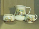 Lancaster & Sandland Ltd English Ware 3pc Creamer & Sugar Bowl & Milk Pitcher