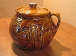 Nelson McCoy Pottery Co Two Quart Brown Gloss Bean Pot