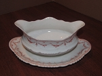 Victoria China Gravy Boat & Attached Under Plate