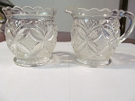 Gillinder & Sons Pressed Glass Creamer & Sugar Bowl