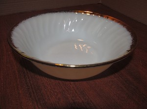 "Anchor Hocking Glass Co Fire King Milk Glass 8 1/4"" Swirl Vegetable Bowl 22K ""Golden Anniversary"""