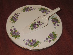 "H. Aynsley & Co. Ltd Cake Plate & Knife ""Violets"""