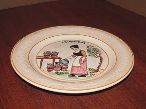 "Borin Treviso Ceramics Hand Painted Dinner Plate ""Spring"" - Italy"